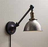 Industrial Era Task Sconce Pewter