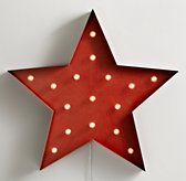 Vintage Illuminated Oversized Star - Distressed Red