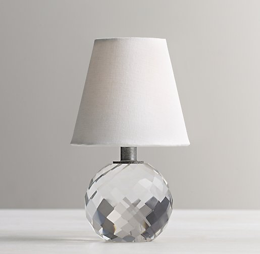 mini lourdes crystal ball lamp with shade. Black Bedroom Furniture Sets. Home Design Ideas