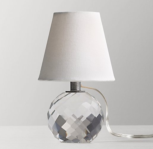 Mini Lourdes Crystal Ball Table Lamp With Shade Aged Pewter