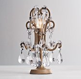 Mini Manor Court Crystal Lamp - Aged Gold