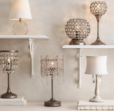 Coralie Crystal Accent Lamp With Shade
