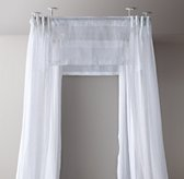 Classic Sheer Belgian Linen Four-Poster Canopy with Valances