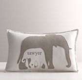 Appliquéd Felt Elephants Decorative Pillow Cover