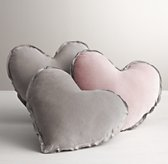 Washed Velvet Decorative Pillow - Heart