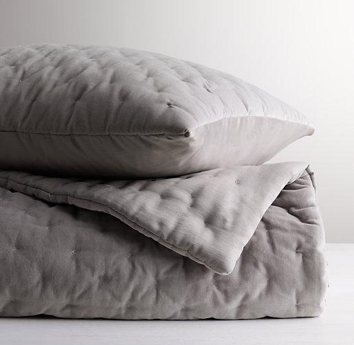 Reversible washed velvet satin toddler quilt for Grey velvet comforter