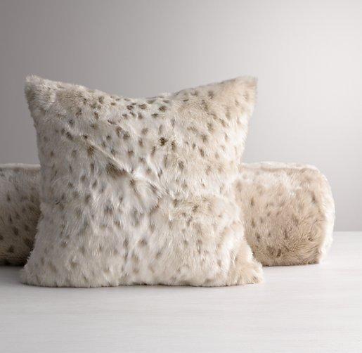 Luxe Faux Fur Decorative Pillow Cover Snow Leopard