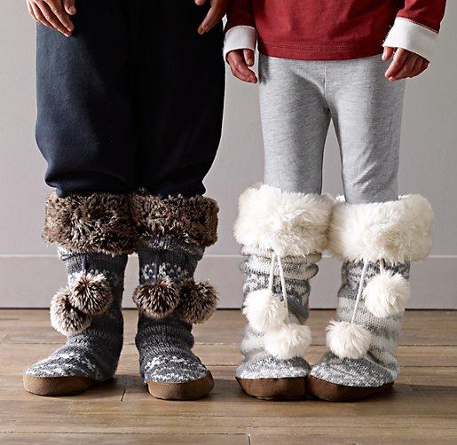 Isle Knit & Luxe Faux Fur Slipper Socks