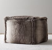 Luxe Faux Fur Square Pouf - Wolf