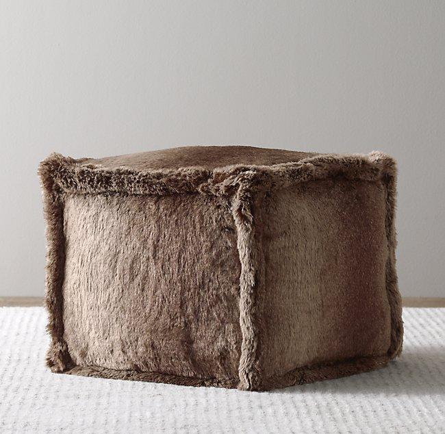 Marvelous Luxe Faux Fur Square Pouf Short Links Chair Design For Home Short Linksinfo