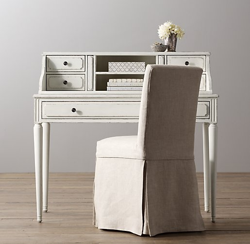 Shown in heirloom white. - Marcelle Writing Desk & Hutch Set