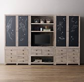 Weller Media Storage Wall Set, Chalkboard Armoire & Wide Bookcase Tops