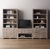 Weller Media Storage Wall Set, Wide Bookcase Tops