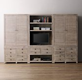 Weller Media Storage Wall Set, Wide Bookcase & Armoire Tops