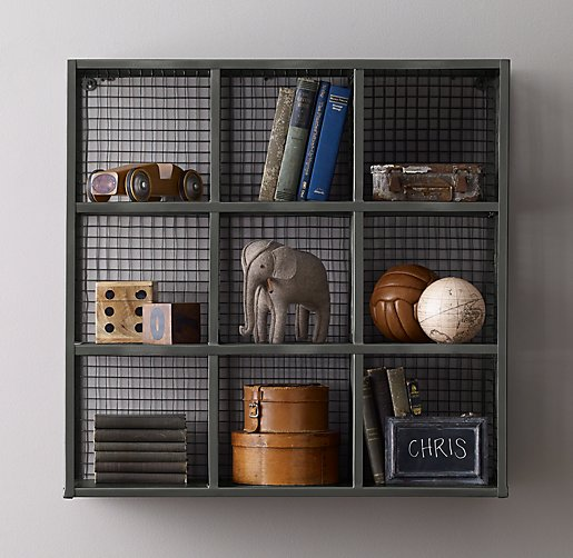 Industrial Wire 9-Cube Shelf