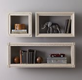 Hand-Carved Display Shelf - Distressed Taupe