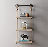 "Industrial Pipe & Rope Shelf - 18"" Weathered White"