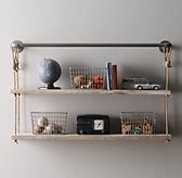 "Industrial Pipe & Rope Shelf - 48"" Weathered White"