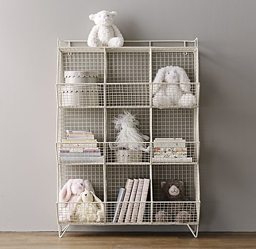 New Bookcase Toy Box White Finish Bedroom Playroom Child: Industrial Wire 9-Cubby Storage