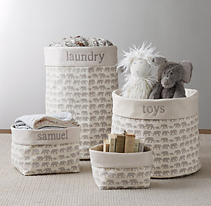 Nursery Canvas Storage Grey Elephant