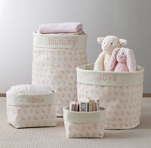 Nursery Canvas Storage Pink Bunny