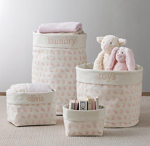 Nursery Canvas Storage Pink Bunny