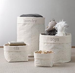 Nursery Canvas Storage Grey Star
