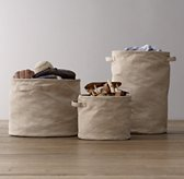 Distressed Canvas Storage Tote - Natural