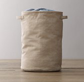 Distressed Canvas Hamper - Natural