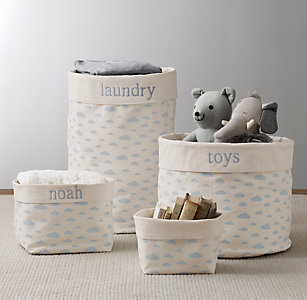 Nursery Canvas Storage Blue Cloud