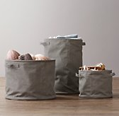 Distressed Canvas Storage Tote - Charcoal