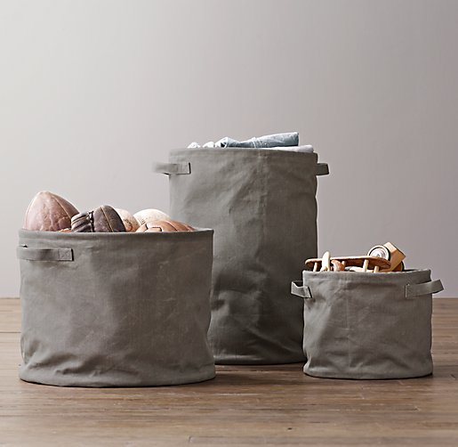 Distressed Canvas Storage Tote Charcoal