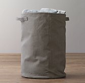 Distressed Canvas Hamper - Charcoal