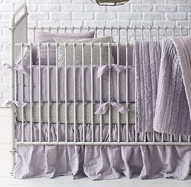 Frayed Voile Dotted Percale Nursery Bedding Collection