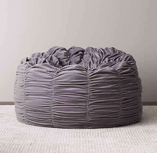 Washed Velvet Ruched Bean Bag Dusty Lilac