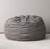 Washed Velvet Ruched Bean Bag - Grey