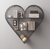Industrial Wire Cubby Heart Shelf - Zinc
