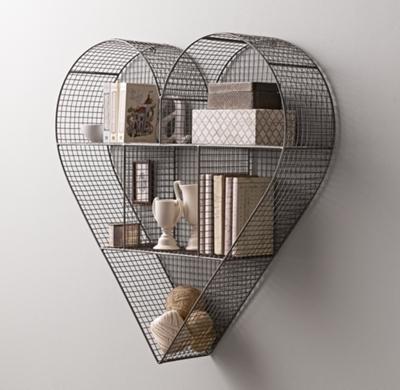 Wire Heart Shelf | Industrial Wire Cubby Heart Shelf Zinc