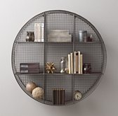 Industrial Wire Cubby Round Shelf - Zinc