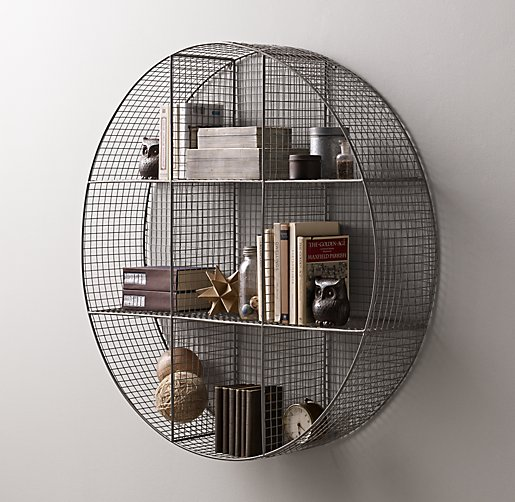 Industrial Wire Cubby Round Shelf Zinc