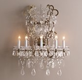 Manor Court Crystal 5-Arm Sconce - Aged Gold