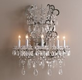 Manor Court Crystal 5-Arm Sconce - Aged Pewter