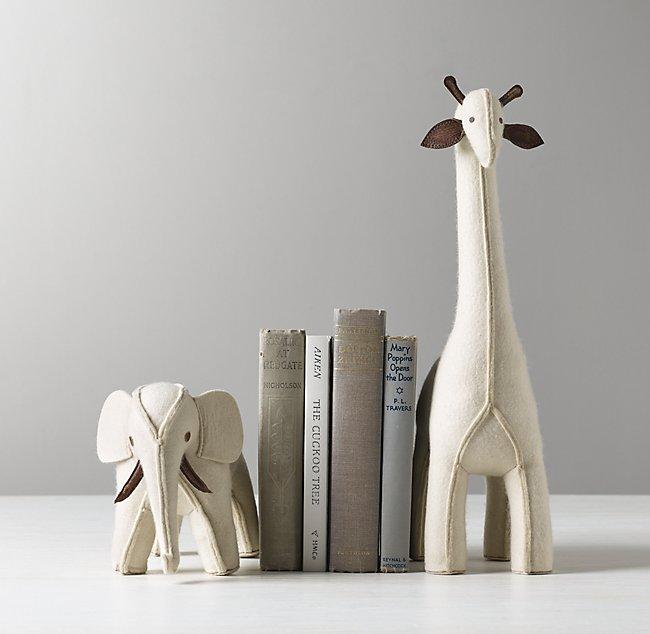 Wool Felt Animal Bookends - Ivory Elephant & Giraffe