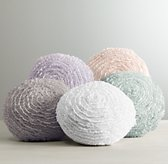 Washed Appliquéd Fleur Round Decorative Pillow