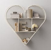 Industrial Wire Cubby Heart Shelf - White