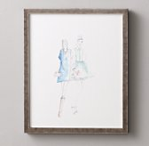 Watercolor Fashion Illustration Blue Pair