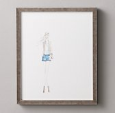 Watercolor Fashion Illustration Blue Shorts