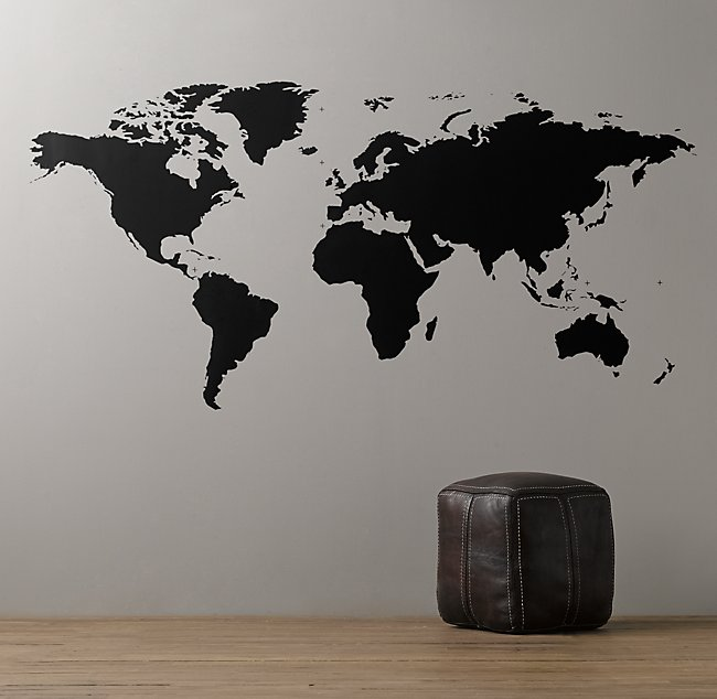 Map Of The World Decal.World Map Chalkboard Decal