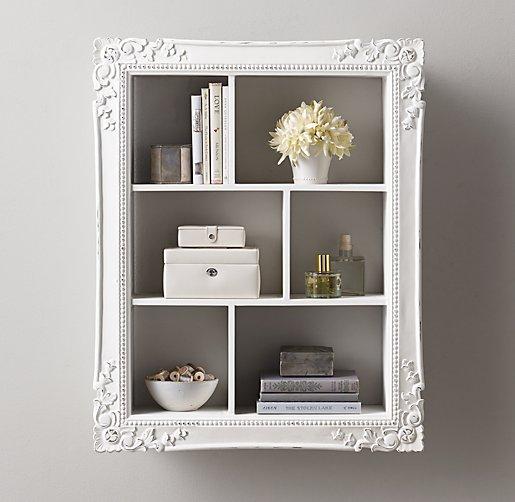 Extra Large Vintage Hand Carved Display Shelf Antique White