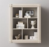 Extra-Large Hand-Carved Display Shelf - Distressed Taupe